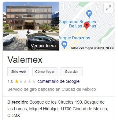 dirección valemex México